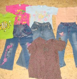 Set 1: jeans, dress, T-shirts (4-5 l.)