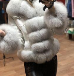 Blugi albi de zăpadă cu blană