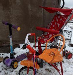 Παιδικό ποδήλατο, καροτσάκι και σκούτερ