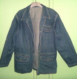 Джинсовая куртка синяяя