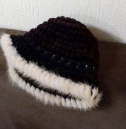 Knitted mink fur hat