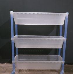 Narrow shelf on wheels three-tier