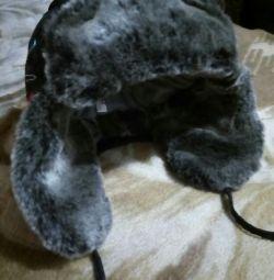 Болоньевая зимняя шапка для мальчика