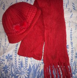 warm winter hat with visor and scarf