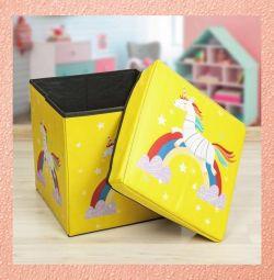 Folding padded stool box for storage 2 in 1, 29х30х30 cm