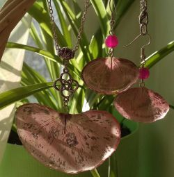 Earrings and pendant from natural materials