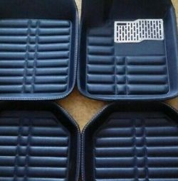 Set of universal floor mats from eco-leather bath