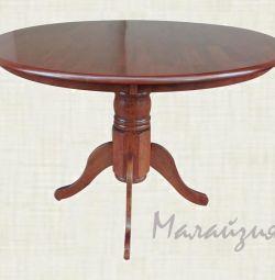 Обеденный стол D106мм. Ножка из массива.