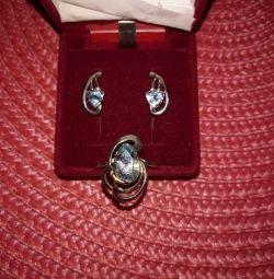 Silver jewelry set with topaz