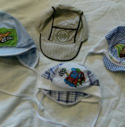 Caps for a boy from 6 months to a year.