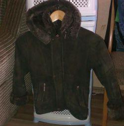 Φυσικό παλτό από δέρμα προβάτου για αγόρι ηλικίας 4-7 ετών
