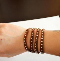 Stylish bracelet made of genuine leather