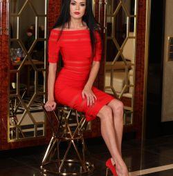 Платье красное Herve Leger бандажное