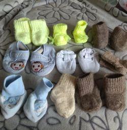 Örme çoraplar, küçük olanlar için patik.