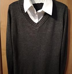 Gray sweater with white collar