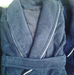 Мужской халат велюр-махра серо-голубой