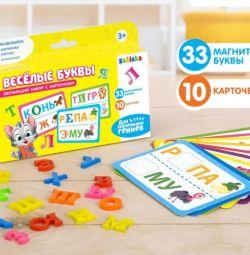 Set educativ de litere magnetice cu carduri.