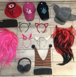 Caps, hats, ears, wigs on Hellowin