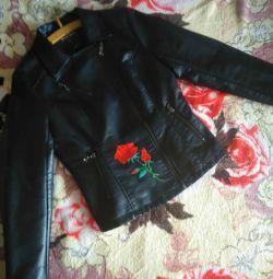 Δερμάτινο μπουφάν με τριαντάφυλλο