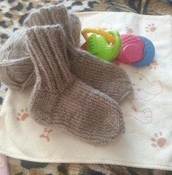 Warm socks made of natural yarn to order