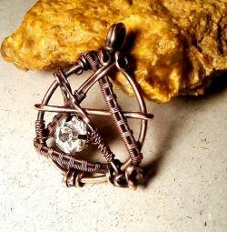 Кулон медный с кристаллом Swarovski