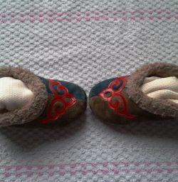 Papuci din piele naturală de căprioară (talpa 12-13m.)