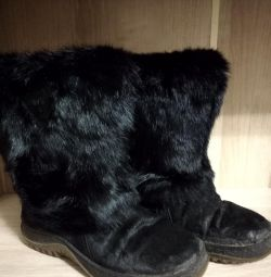 Φυσικές μπότες υψηλής γούνας 36 τρίβουν