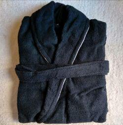 Махровий халат синій з кантом