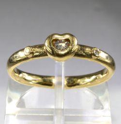 Золотое кольцо с бриллиантами 17 размера