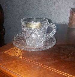 Чашки с блюдцами. 4 пары. Чешский хрусталь Bohemia