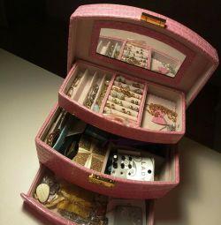 Cutie cu sertare pentru bijuterii cu trei straturi