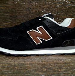 Σημείωση 574 μαύρα αθλητικά παπούτσια με καφέ χρώμα
