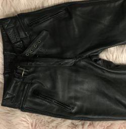 Biker piele pantaloni 46-48 p, SUA, femei