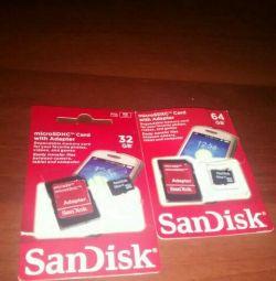 Δύο κάρτες μνήμης 32 Gb και 64 Gb