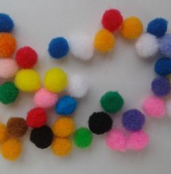 Fur pompons of different colors 10mm