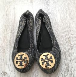 Δερμάτινα παπούτσια μπαλέτου νέα