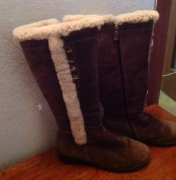 Winter boots, suede, inside fur
