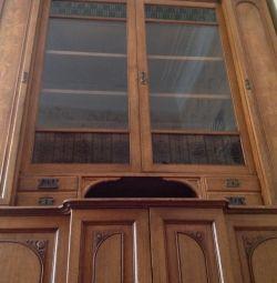 Шкаф дубовый книжный, буфет, антикварный, модерн