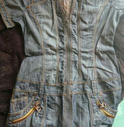 Платье джинсовое с принтом.
