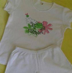 ? Pajamas knitted d / girls for 140-146 cm