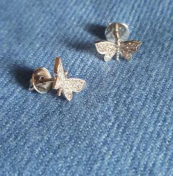 Ασημένια σκουλαρίκια BUTTERFLY (Ρωσία)
