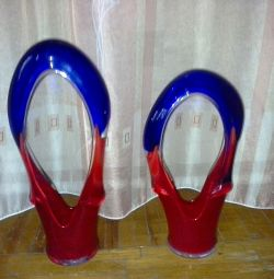 Vases. Colored Bohemian Glass