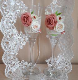 Wedding glasses in peach)