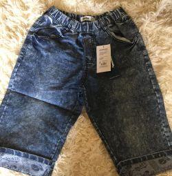 Бриджи джинсовые на мальчика 8-14 лет