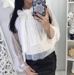 Bluză cu perle + top