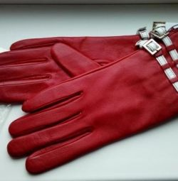 Γάντια από γνήσιο δέρμα Versace, κόκκινο