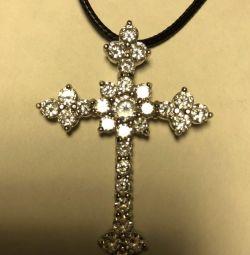 Cruce de argint cu zirconi.