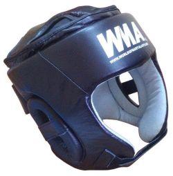 Шлем защитный бокс (нат. кожа) (черно/белый)