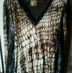 Blouse, very stylish, light, (imitation leather)