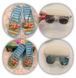 Branded sandals slates and glasses to them in tone